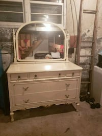 white wooden dresser with mirror antique Montréal, H2P 1E2