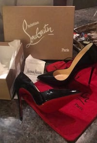 pair of black suede platform stiletto shoes with box Washington, 20024