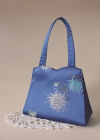Vintage Blue Satin Mini Bag with Embroidery