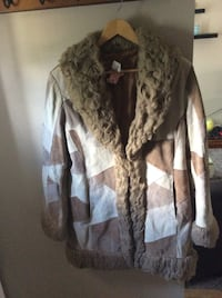 EUC Womens SIZE L Suede Leather Patchwork 3/4 Length jacket coat boho Oakville