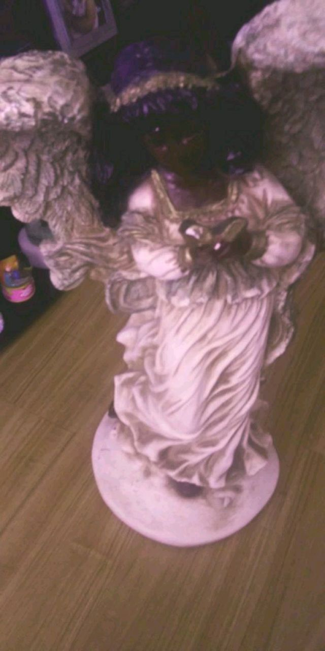 Photo Angel statue /w stand. African-American cultural art