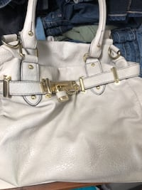 white and gray leather Steve Madden bag MERIDIAN