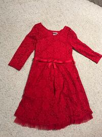 Girl red lace dress size 10-12
