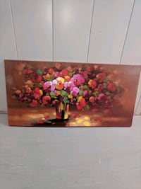 red and yellow petaled flowers painting
