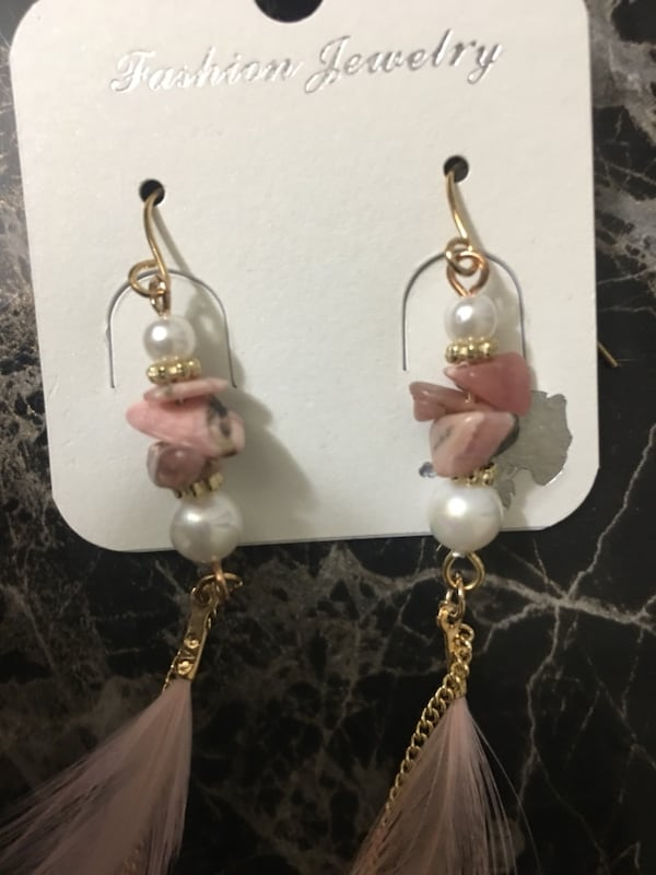 Pink n white earrings. fd4bdacb-2c5a-41c2-8540-380437b2b980
