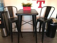 Farm Style Metal High Table with Two Chairs River Edge, 07661