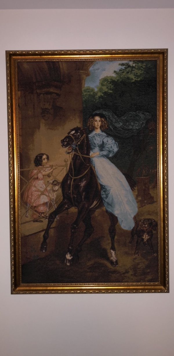 Tapestry Women in blue on a horse 61da0473-270a-4ded-b088-cc11276278bc