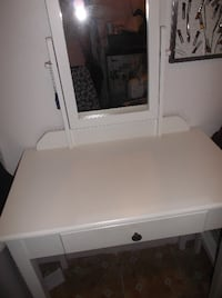 white vanity table + 2 stools + white nightstand