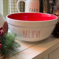 RAE DUNN Christmas BELIEVE Large LL Bowl 23 mi