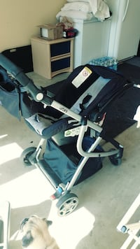 It's in great condition. everything works perfect. matching car seat and base. clean no stains urbini omni