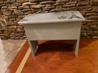 painted and stenciled storage bench