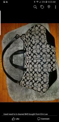 black and gray monogram Coach hobo bag Redford Charter Township, 48239