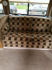Motor home pullout couch and blinds