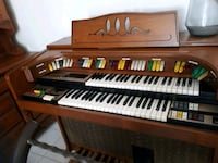 brown wooden upright piano with chair Kirkland, H9J