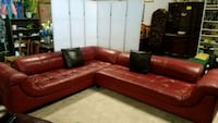 LEather sectional sofa couch large red chaise w/ p Hayward