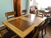 Wooden Dining Table, Chairs and Hutch Shawnee, 66216