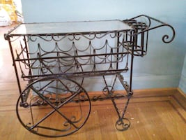 Black wrought iron bar cart for sale