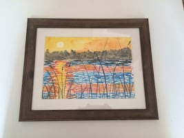Framed lake sunset watercolor painting