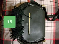 black and gray leather crossbody bag 2663 km
