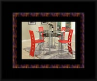 Red counter height dining table with 4 chairs Riverdale Park