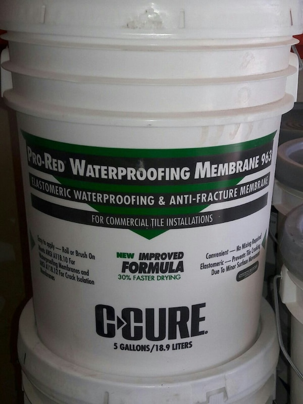 Used Pro Red Waterproofing Membraine 963 C Cure Pail For In Oklahoma City