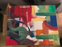 Abstract acrylic painting on canvas.  Red green blue yellow orange  New York, 10002