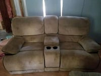 brown sued theater sofa plus leather recliner Fleming, 31309