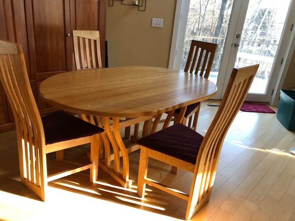 Vermont Wood Studios Solid Wood Modern High Back Side Chairs And Dining Table Cherry