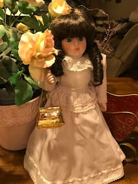 Pretty Porcelain Doll in Lavender & Lace with Gold Purse Gainesville, 20155
