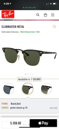 Rayban Clubmasters Sunglasses (never uses ) Cambridge, N1T 2A6