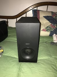 black Sony bookshelf speaker