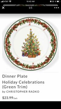 New! Holiday Dinner 8 pieces dinner & salad plate & serving dishes