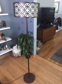 brown and white floor lamp