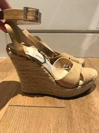 "Jimmy Choo ""Phoenix"" nude patent leather wedge Size 37 New York, 10016"