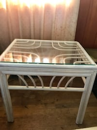 RATTAN WICKER VINTAGE GLASS TOP END TABLES