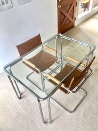 Mid-Century Glass Table w/ (2) Leather + Wood Chairs Seattle, 98125
