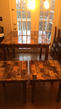 Kitchen table with two end tables kitchen table has a little scratch on it Stafford, 22554