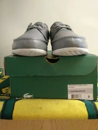 pair of gray Air Jordan basketball shoes with box Alexandria