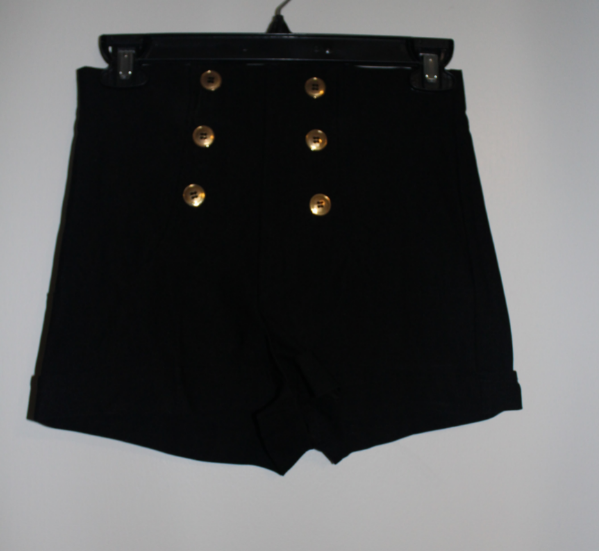 cbf157a6eb87 Used Women s Fashion Shorts - black spandex and gold buttons for ...