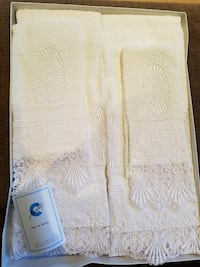 European display embroidered towels