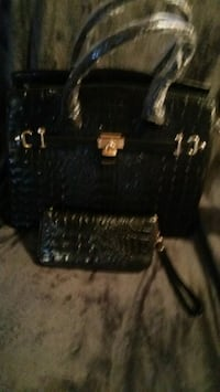 New black leather crocodile print purse and wallet Theodore, 36582