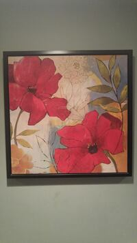 red petaled flowers painting
