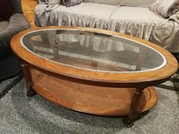 Oak wood glass coffee table Montreal, H1M 3G7