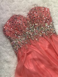 Sparkly long coral dress