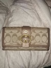 monogrammed beige Coach leather long wallet Victoria