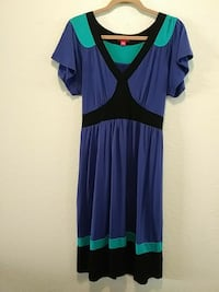 women's purple and teal short sleeve dress