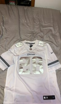 White and Chrome Vikings Adrian Peterson Jersey, Size Large Shakopee