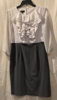 Spence Ruffle top Dress with Sheer sleeves and Grey Skirt. Size 4 Hyattsville, 20784