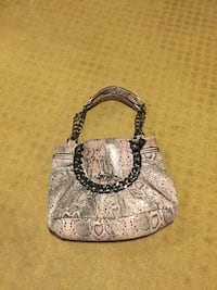 Pink and gray snake skin printed leather tote bag New York, 11222