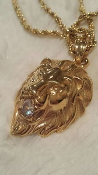 Lion spit diamond gold tone plated chain